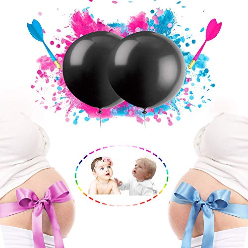 Gender Reveal Confetti Cannon Powder black Balloon for Baby Shower With Pink and Blue Powder Confetti Gender Reveal Party Supplies Decoration Kit