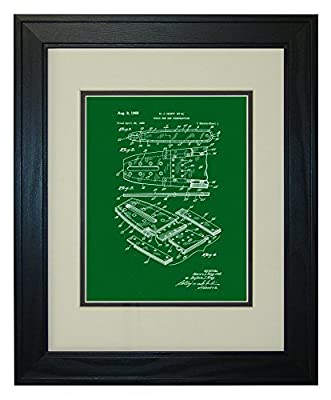 Chain Saw Bar Construction Patent Art Print in a Solid Pine Wood Frame with a Double Mat