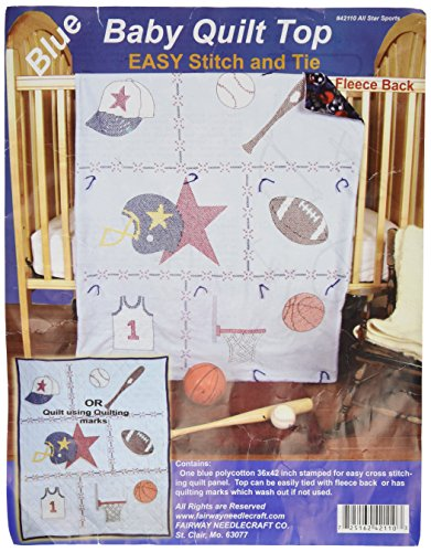 Fairway Stamped Baby Quilt Top, 36 by 42-Inch, Sports, Blue Fabric by Fairway