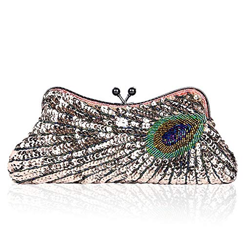 Party Clutch Bridal Bag Evening Women Champagne Wanfor Purse Cocktail for Peacock Sequins Beaded Wedding Vintage Handbag P1cCwAx