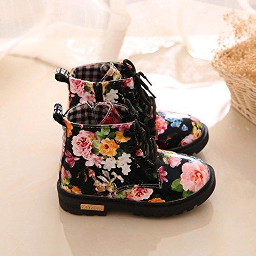Tefamore Mädchen Blumen Martin Aufladungen Beiläufige Art und Weisefall Winter Baby Schuhe Schwarz