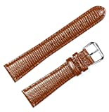 Lizard Grain Watchband Havana 18mm Short Watch band - by deBeer
