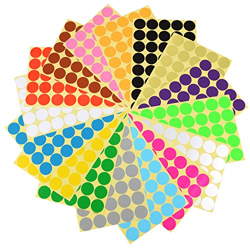 eBoot 2.5 cm Dot Stickers Round Stickers Coding Labels, 16 Different Colors, (Circle Cards)