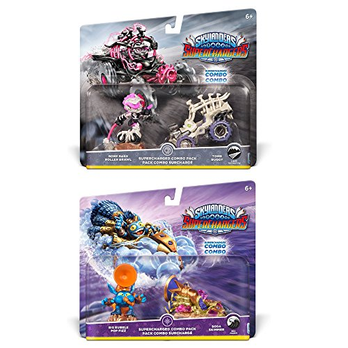 Skylanders SuperCharged Combo Dual Pack Bundle: Bone Bash Roller Brawl and Tomb Buggy & Big Bubble Pop Fizz and Soda Skimmer