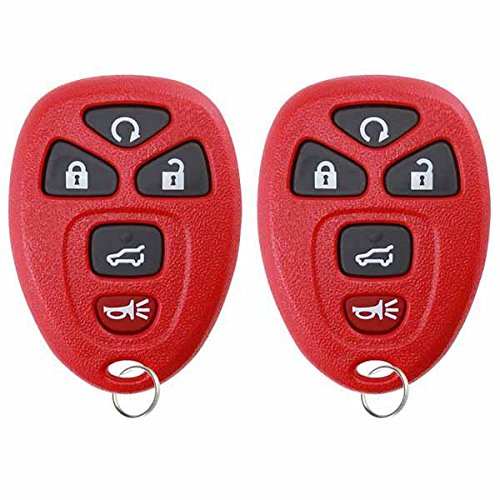 KeylessOption Keyless Entry Remote Control Car Key Fob Replacement for 15913415 -Red (Pack of 2)