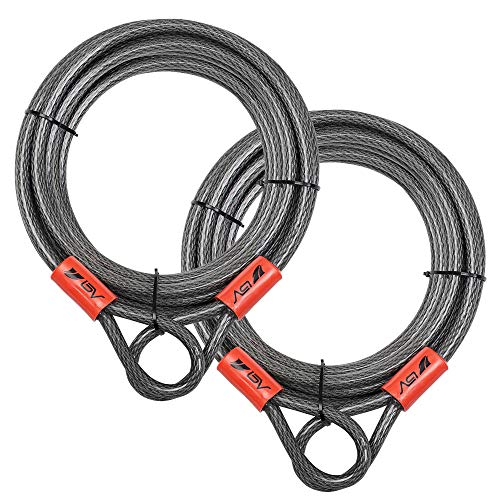 BV 30FT Security Steel Cable with Loops, Flex Cable, Lock Cable 3/8 Inch, for U-Lock and Padlock (Set of 2)