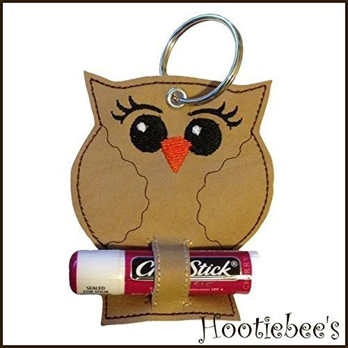 Owl Chapstick Holder Key Fob (make great gifts) - Tan Chaps