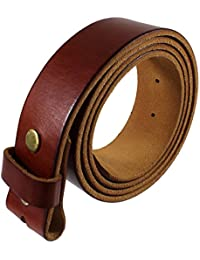 Genuine Full Grain Leather Belt Strap without Belt Buckle