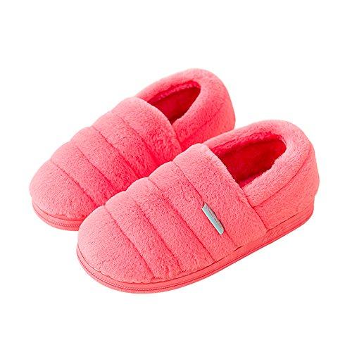 Cotone habuji pantofole inverno seguita dal fondo spesso in borsa a caldo con pacchetto office piede materna postpartum scarpe, 39-40, rose red
