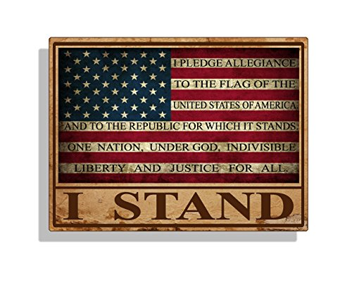 - I STAND USA Rustic Flag Sticker Decal Pledge of Allegiance Car Truck Cup Laptop Bumper Window
