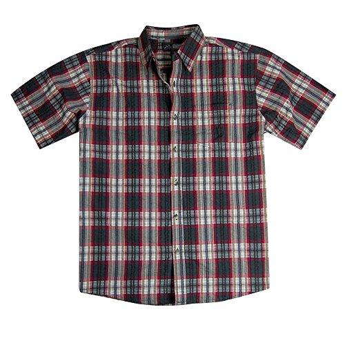 (Men's Short Sleeve Plaid Seersucker Shirt | Button Down (X-Large, Red/Charcoal))