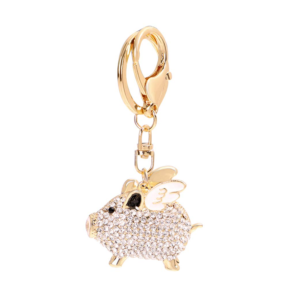 ZHOUBA Rhinestone Inlaid Flying Pig Keychain Key Ring Holder Hanging Decoration Blue White