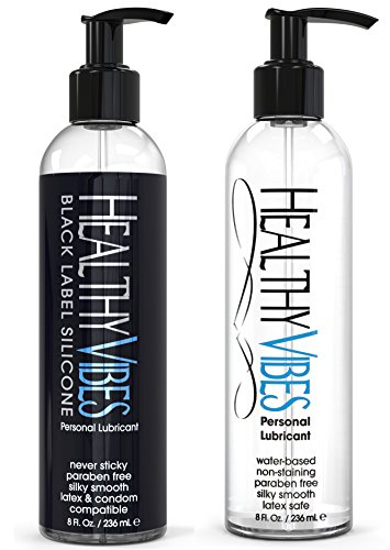 Water & Silicone Based Personal Lubricant Kit by Healthy Vibes, Includes 2x 8oz Bottles, 100% Latex Safe
