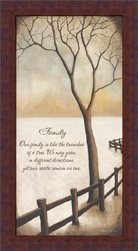 Our Family is like the Branches of a Tree by Kendra Baird Winter Quote 11x20 Wall Art Print Framed
