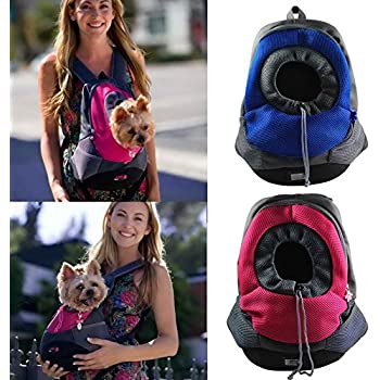 Amazon.com : Dog Pet Backpack - Back or Front Chest Carrier - Pink ...