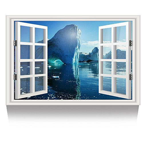Kreative Arts - Canvas Print Wall Art Window Frame Natural Glacier on the North Atlantic Picture Wall Decor Stretched Giclee Print Gallery Wrap Modern for Home Decor (24''x36'', 12.Iceberg)