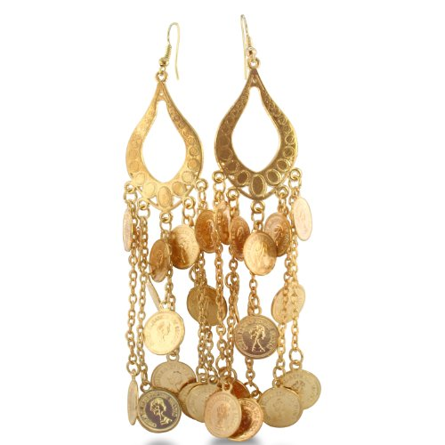 Unique Dangling Coin Earrings in Yellow Alloy Metal