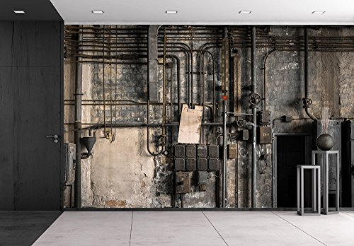 Industrial Fuse - wall26 - Industrial Fuse Boxes Against Damaged Wall - Removable Wall Mural | Self-adhesive Large Wallpaper - 100x144 inches