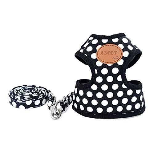 [SELMAI Small Dog Vest Harness Polka Dot Leash Set Mesh Padded Control Lead for Pet Puppy Cat Black] (Best Pug Costumes)