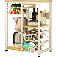 Yontree Portable Kitchen Trolley Cart Utility Rolling Storage island with Drawers Yellow Oak