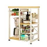 Yontree Kitchen Trolley Cart Utility Rolling Storage Island Workstation Rack Shelf with Drawers Yellow Oak
