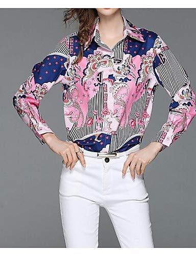 en Blushing Chemise Coton de Pink YFLTZ Col Blouse Femme Unie TYw78x5