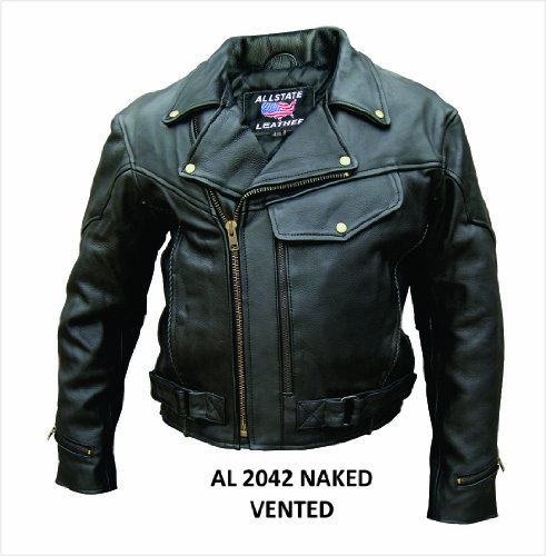 Men's Drum Dyed Naked Cowhide Leather Motorcycle Jacket with braid trim, full sleeve zipout liner and Lots of Pockets AL 2042 -46