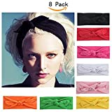 Women Headbands Turban Headwraps Hair Band Bows Accessories for Fashion Or Sport (Solid Color 8pcs)