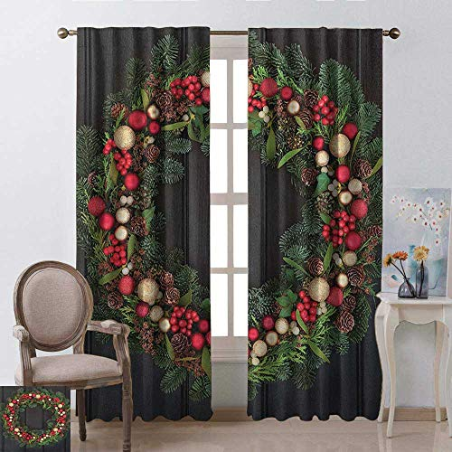 - youpinnong Christmas, Curtains to Keep Out Heat, Christmas Wreath Design with Little Baubles Mistletoe Spruce Fir Dark Oak Image, Curtains for Kitchen Windows, W108 x L108 Inch, Multicolor