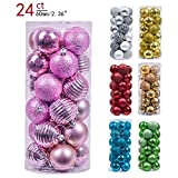 Valery Madelyn 24ct 60mm Essential Pink Basic Ball Shatterproof Christmas Ball Ornaments Decoration,Themed with Tree Skirt(Not Included)