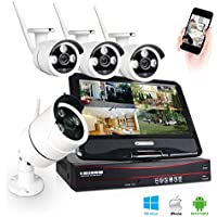 Joney 4 Channel Wireless Security IP Camera System Outdoor Night Vision Wifi 4CH Nvr Kit 4pcs Wifi Surveillance Kits Support Smartphone PC Remote View For Home Business (2.0MP(19201080))