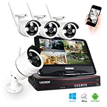 Joney 4 Channel Wireless Security IP Camera System Outdoor Night Vision Wifi 4CH Nvr Kit 4pcs Wifi Surveillance Kits Support Smartphone PC Remote View For Home Business (1.0MP(1280720))
