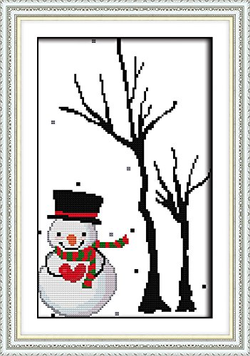 CaptainCrafts Hot New Cross Stitch Kits Needlecrafts Patterns Counted Embroidery Kit - Snowman Tree Wood (WHITE) ()