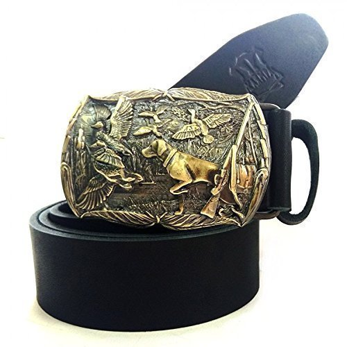 Brass Buckle 'Duck Hunting' On a Full-Grain Leather Belt