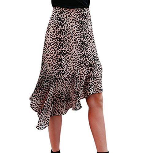 Lavany  Women's Ruffles Skirts Sexy Leopard Print Zipper Knee Length Skirt for Girl Brown by Lavany  (Image #7)