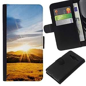 All Phone Most Case / Oferta Especial Cáscara Funda de cuero Monedero Cubierta de proteccion Caso / Wallet Case for Samsung Galaxy Core Prime // Nature Mountain Sunset