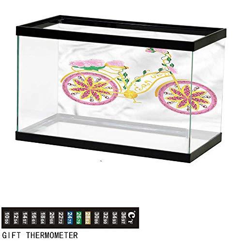(homecoco Fish Tank Backdrop Bicycle,Pink Bike Floral Ornament,Aquarium Background,36
