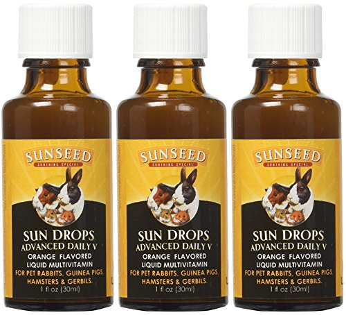 (Sunseed 3 Pack of Vita Prima Sun Drops Advanced Daily V, 1 Ounce each, Liquid Vitamin Supplement for Guinea Pigs Pet Rabbits and Other Small Animals)