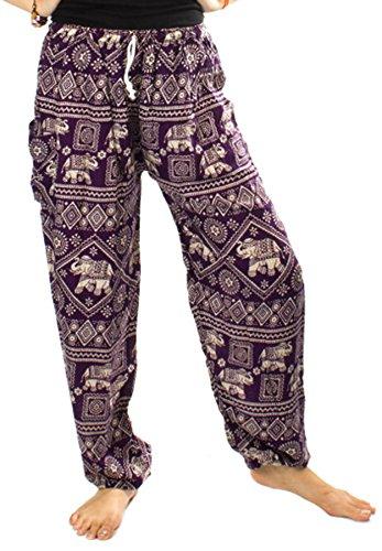 Lofbaz las mujeres Pantalones Harem Boho del lazo del Elefante Una Talla Elephant 1 Morado