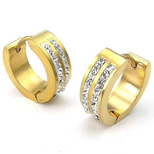 KONOV Zirconia Stainless Huggie Earrings