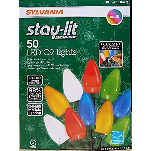 sylvania stay lit platinum led indooroutdoor christmas string lights various colors sizes 50ct c9 lights multi colored