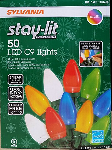 50 Ct Multi Color Led C9 Christmas Lights in US - 2