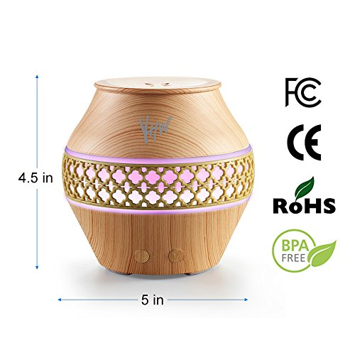 YHW Essential Oil Diffuser with Night Light, 6 to12 hours Cool Mist Humidifiers Aromatherapy Diffuser, 100~240V Ultrasonic Scent Vaporizer for Home, Baby, Kids, Office, Travel, Cruise,Light Wood Color