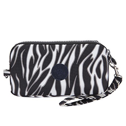 Sumcoa Womens Multi-purpose Canvas Casual Waterproof Nylon Wristlet Clutch bag Handbag Zipper Purse Cell Phone Money Pouch Wallet (zebra-stripe) (Zebra Clutch Wallet)