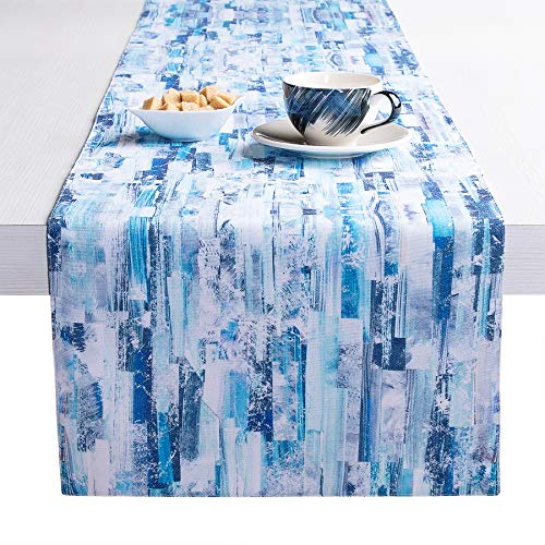 Table Runner Motley Blue Cotton-Polyester 14″x72″ Centerpiece Decor For Table In Kitchen Dining Bedroom Farmhouse For Family Outdoor & Indoor Parties Dinner & Other Gathering -Optional W/ 4 Placemats