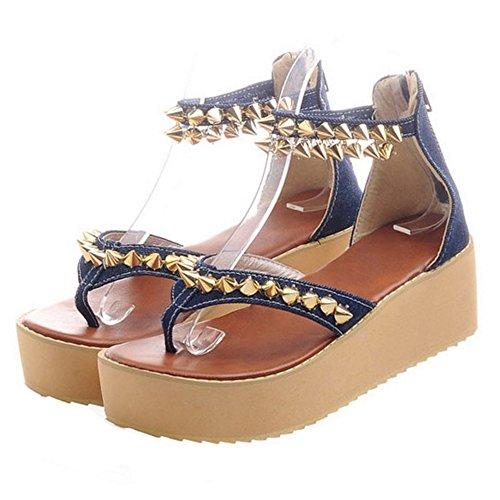 COOLCEPT Damen Mode Durchgangiges Sandalen Nieten Dark Blue