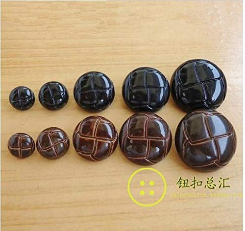 - Pukido Plastic Resin Black Brown Imitation Leather Coat Button Shank Buttons 100pcs/lot - (Color: Brown 20mm)