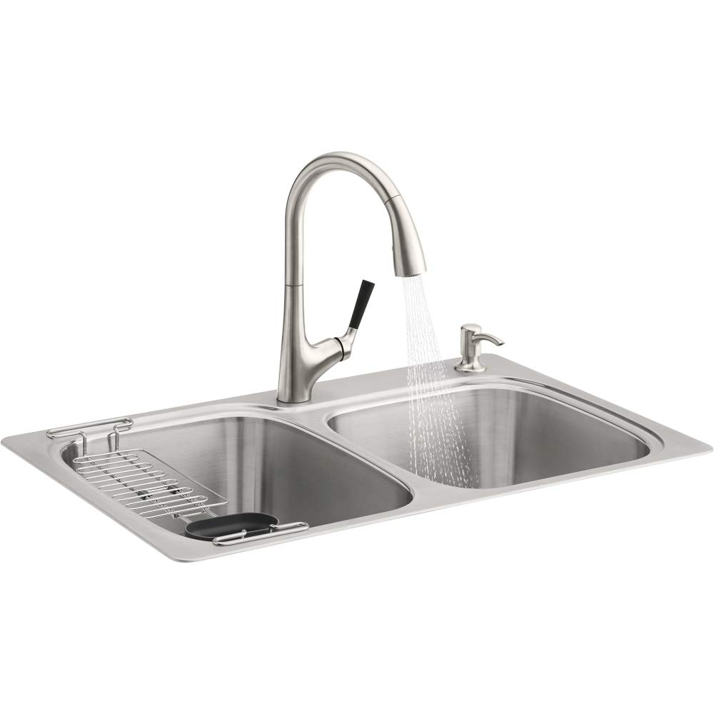 Kohler R75791-2PC-NA All-in- All-in-One Dual-Mount Double Bowl Kitchen Sink Kit with Faucet and Accessories, Brushed Stainless