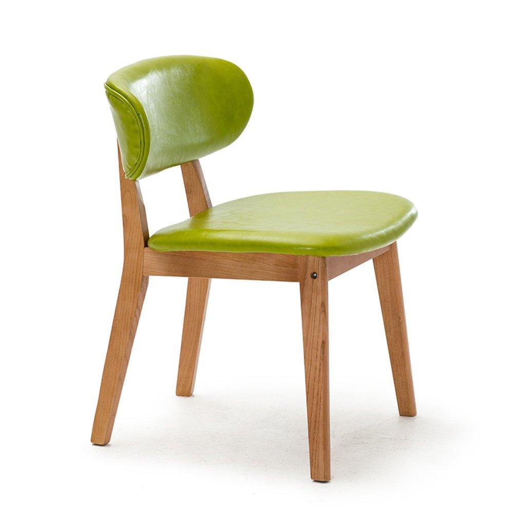 シンプルなラウンジチェアダイニングチェア家庭用オフィスデスクカフェリビングルーム商業レストランソリッドウッドスポンジクッションスツール (色 : 緑, サイズ さいず : Set of 1) B07F11QKJR Set of 1 緑 緑 Set of 1