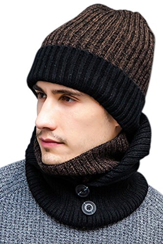 JOYEBUY Stylish Men 3 Pcs Warm Winter Set Wool Knitted Beanie Hat + Scarf + Touch Screen Gloves(Coffee) Block Knitted Hat